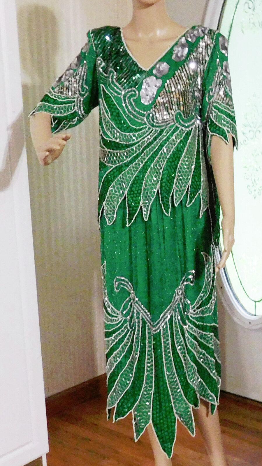 Anjumun Two Piece Beaded Dress - Woherren Größe S - 100% Silk - Made in India