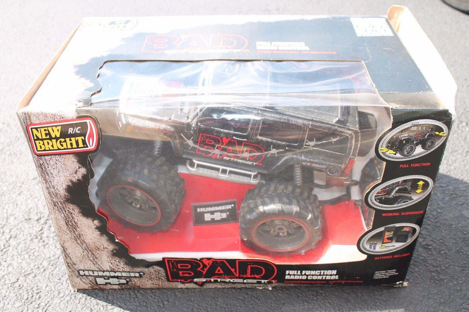 Nuevo Bright 1 12 escala Hummer H3 Bad Street Negro Plata Cepillada Con Control
