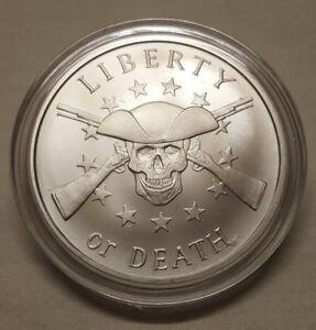 2018-Silver-Shield-1oz-Liberty-or-Death-Skull-amp-Gun-999-Fine-Silver-Round-Coin