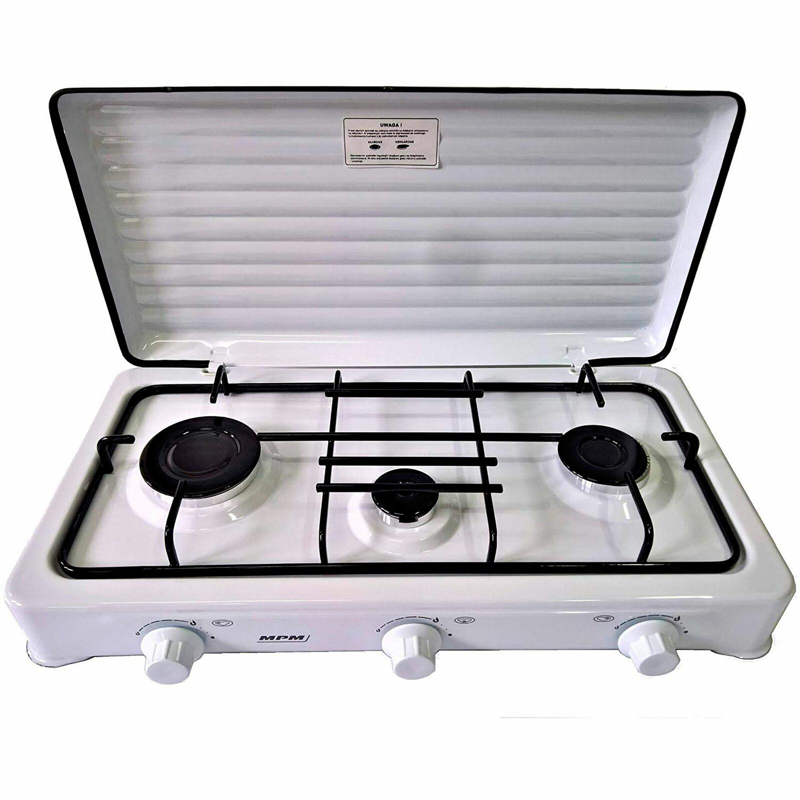 s l1600 - Cocina de Gas Portátil para camping 3 quemadores Blanca SMILE KN-03/1KB