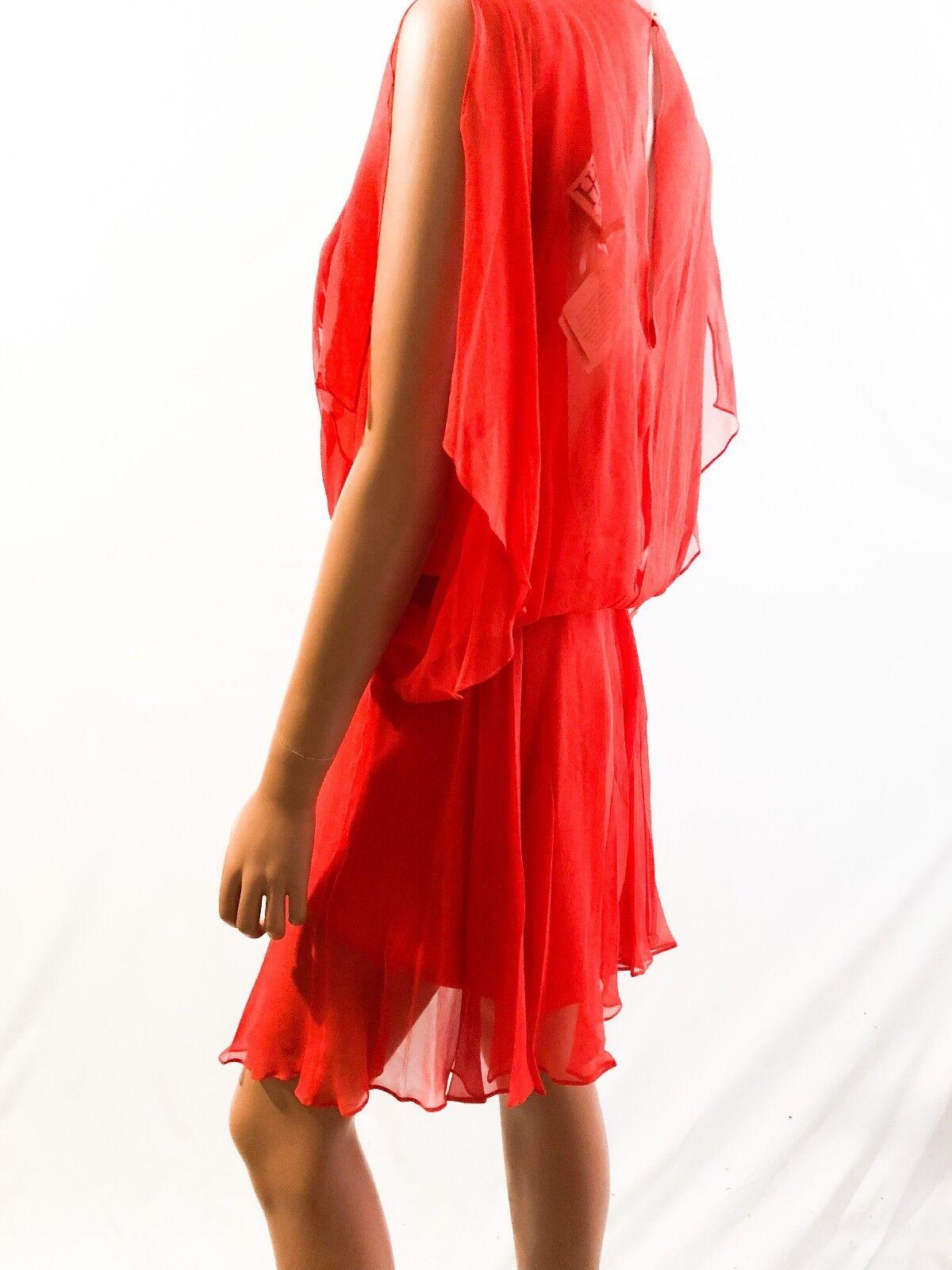 Haute Hippie Applique Applique Applique Embellished Red Silk Dress Tunisian Red SIZE-S d79e02