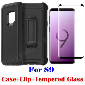 on sale c9a9c 9cabf Details about For Samsung Galaxy S9 Case Clip Fits Otterbox Defender WITH  Tempered Glass BLACK