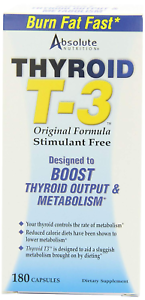 Absolute Nutrition Fat Burning Metabolism Boosting Supplement, Thyroid T-3
