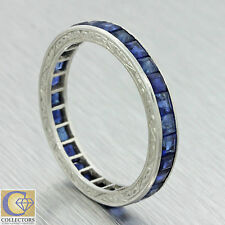 1920s Antique Art Deco Solid Platinum French Cut Sapphire 3mm Band Ring