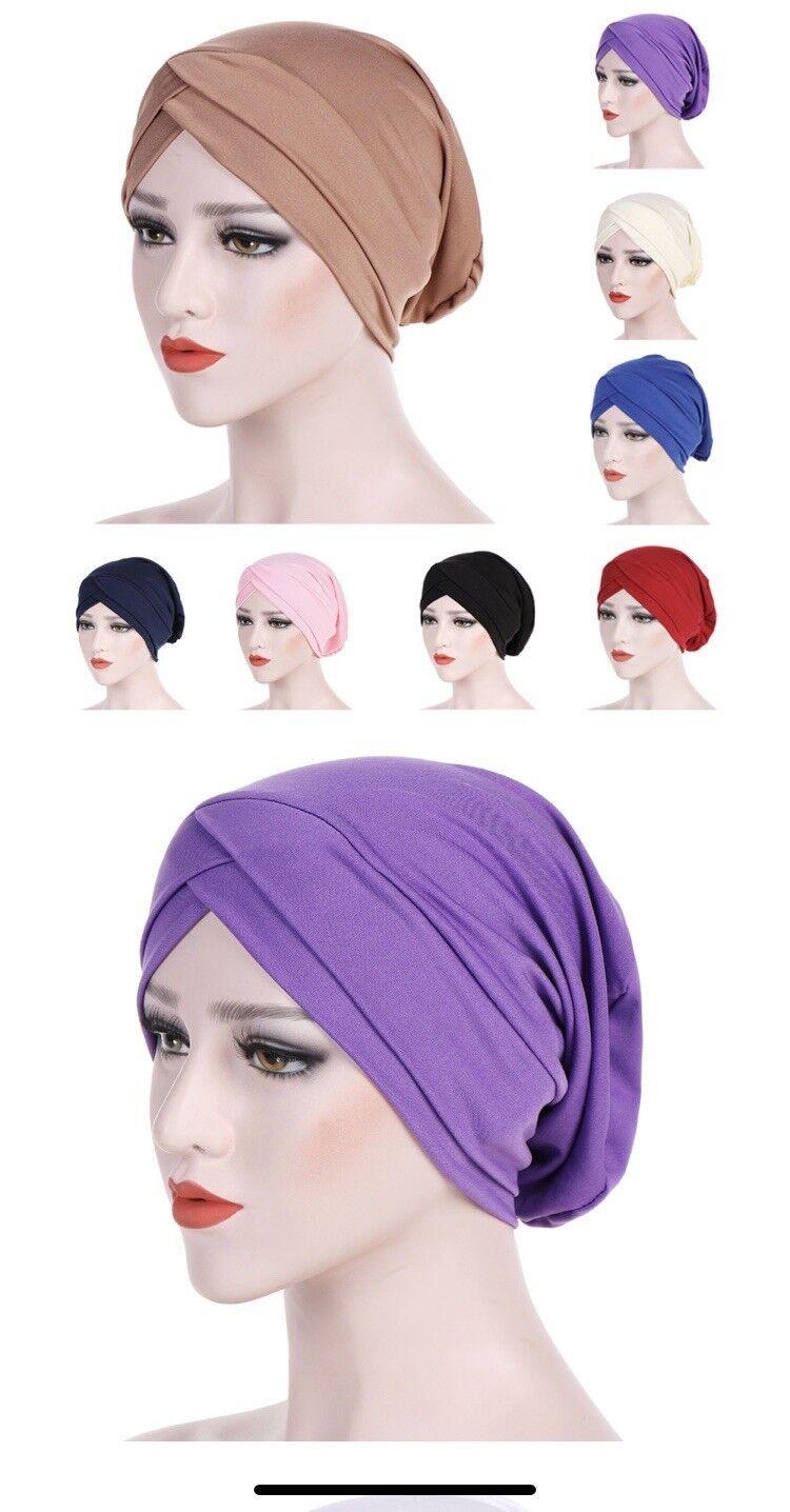 Women Muslim Frontal Cross Bonnet Hijab Turban Hat Chemo Cap Headscarf Headweap