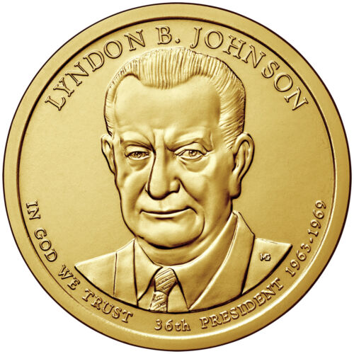 2015 D Lyndon Johnson Presidential Dollar Roll Mint Wrapped Heads Tails In Hand