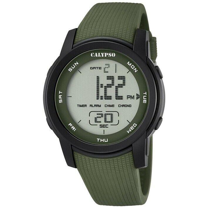 Reloj Calypso digital K5698/4 correa de caucho verde con detalles negros