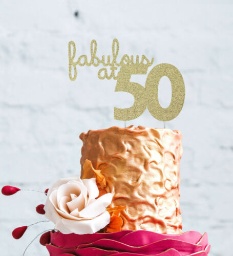 50th Birthday Cake Topper Glittery Gold Fifty Fabulous at 50 Cake Topper
