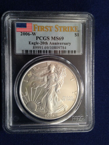 2006-W American Silver Eagle 20th Anniversary PCGS First Strike Burnished MS69