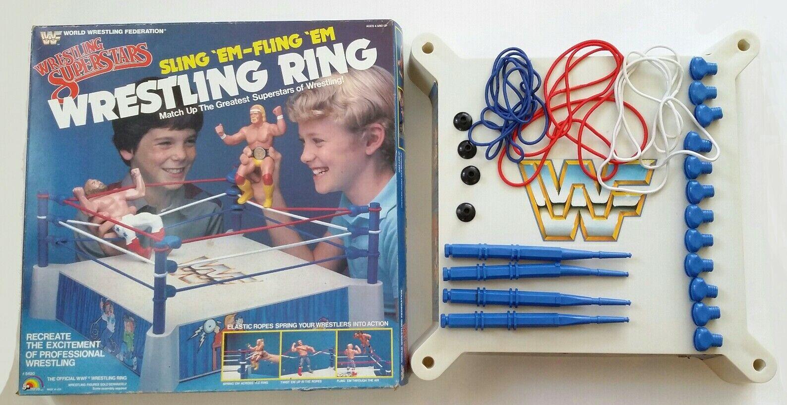 WWF LJN Sling 'Em-Fling 'Em WRESTLING WRESTLING WRESTLING figure Ring wwe 5812d1