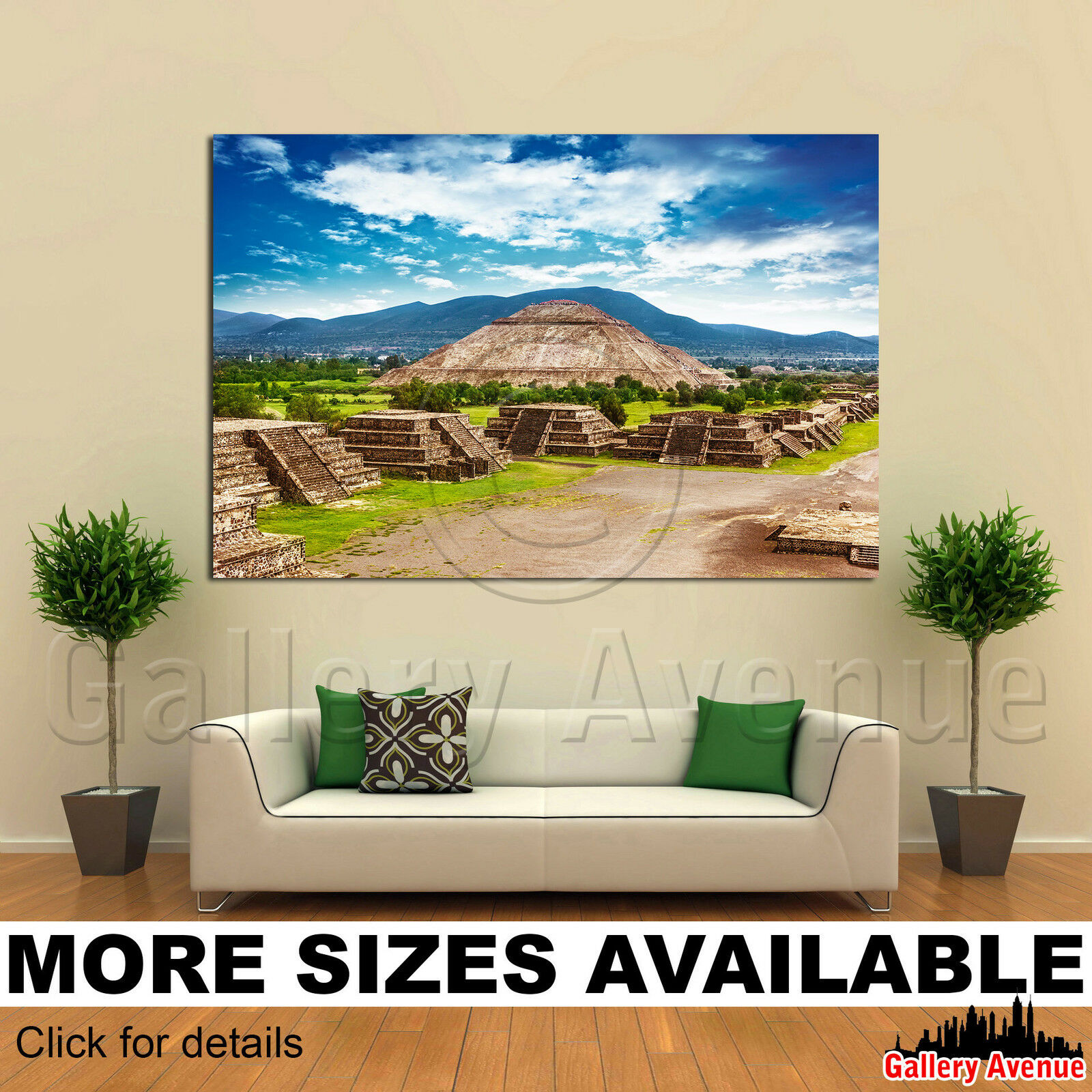 A Wall Art Canvas Picture Print - Pyramids Sun and Moon ancient Aztec Mexico 3.2