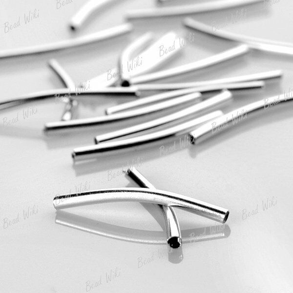 70 Silver Plate Curved Tube Charm Spacer Bead 25mm MB28