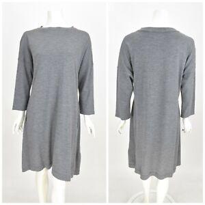Womens-TOAST-100-Wool-Shift-Tunic-Dress-Grey-Basic-3-4-Sleeve-Size-16UK