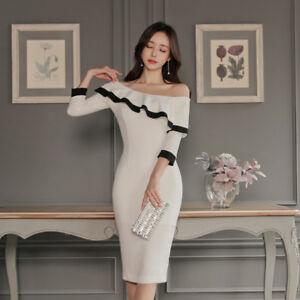wholesale dealer acb9e 8c885 Dettagli su Elegante vestito abito tubino bianco scollato maniche aderente  slim morbido 4755