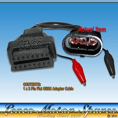 FIAT 3 PIN OBD to ODB2 EOBD 16 PIN CAR FAULT CODE DIAGNOSTIC ADAPTER CABLE NEW