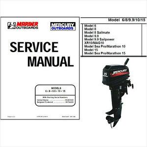 mercury mariner 6 8 9 9 10 15 two stroke outboard motor service rh ebay ie mariner 5hp outboard motor manual mariner 2 hp outboard motor manual