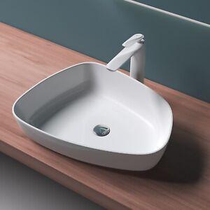 Mineralguss Weiß glänzend Waschbecken Aufsatzwaschbecken Waschtisch Gussmarmor