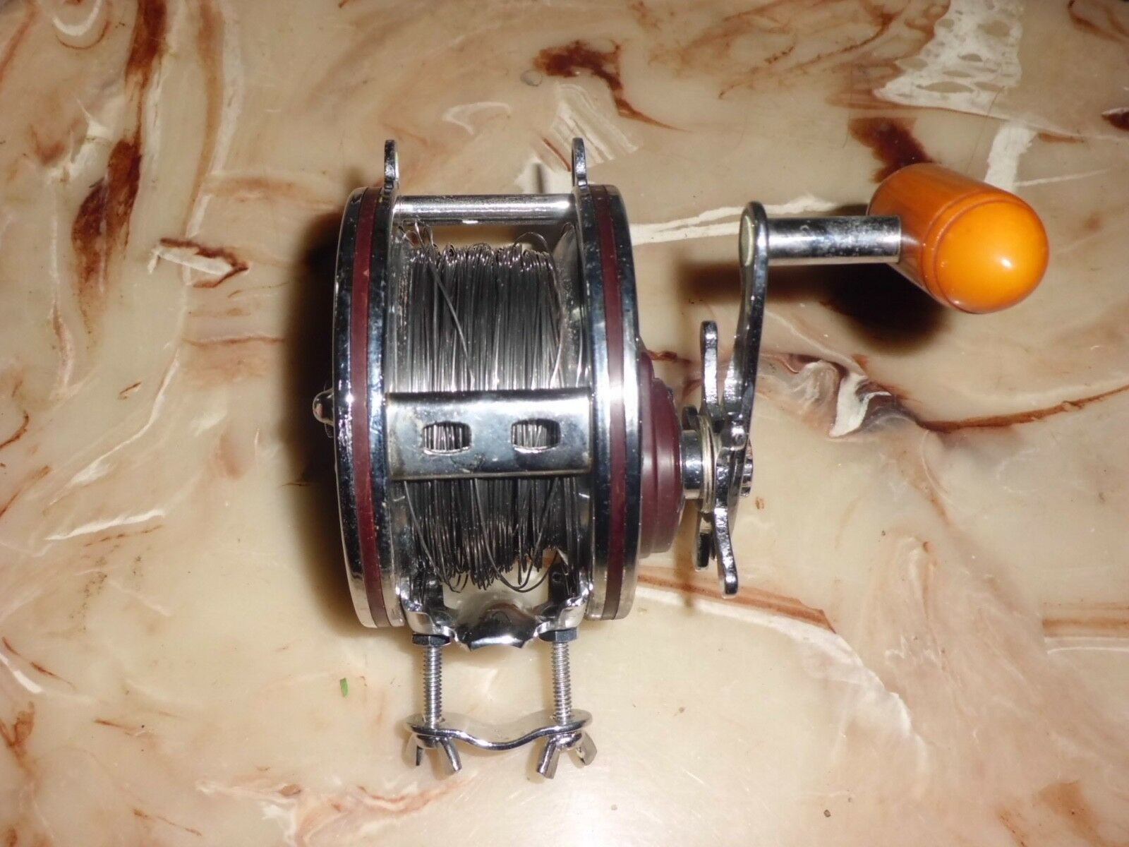 Vintage PENN Grand Mariner 349 Conventional Reel- USA w  Stainless Steel Wire