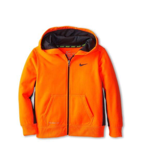 cfc8c01b8da2 Nike Therma Fit Boys Orange grey Zip up Hoodie Sweatshirt Size 5 for ...