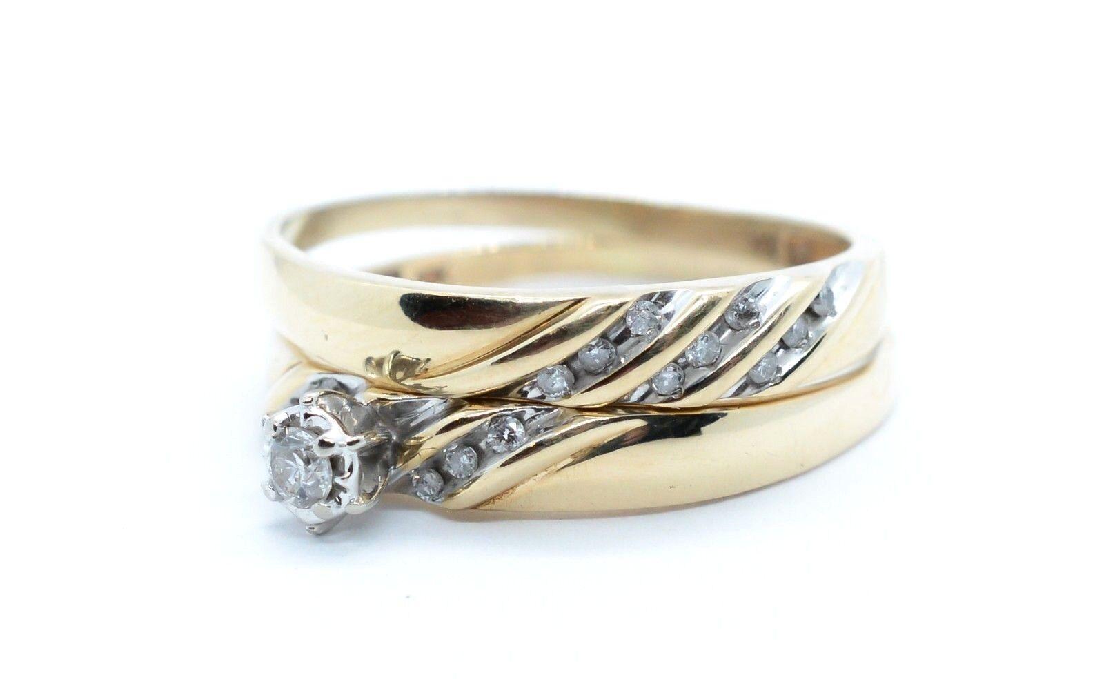 (MA5) Lady's 10K Yellow gold Diamond Wedding Ring Set .25 ctw 5.1 Gr. Size 13