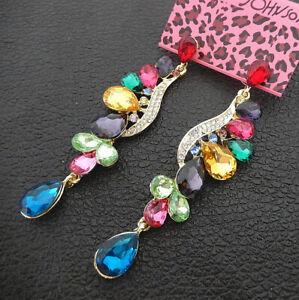 Women-039-s-Multi-Color-Crystal-Rhinestone-Flower-Betsey-Johnson-Drop-Earrings
