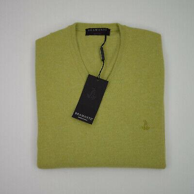 miglior servizio ebac0 d315e Maglione Pullover Bramante Verde Scollo a V in Lana ...
