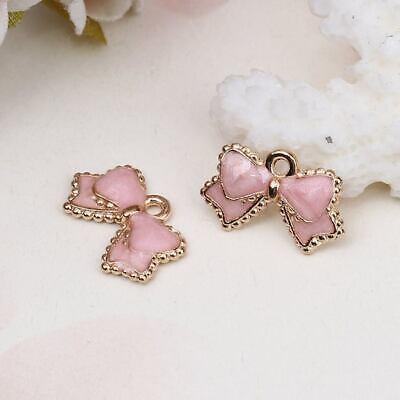 5 pcs gold  enamel pretty pink  bow charm size 16x10mm