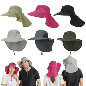 Mens-Boonie-Wide-Brim-Sun-Hat-Cap-Neck-Flap-UV-Protection-Outdoor-Fishing-Hiking
