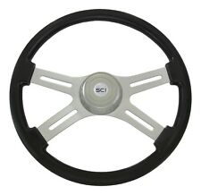 """4 Spoke 18"""" Black Steering Wheel for Western Star, Freightliner, Peterbilt, KW++"""