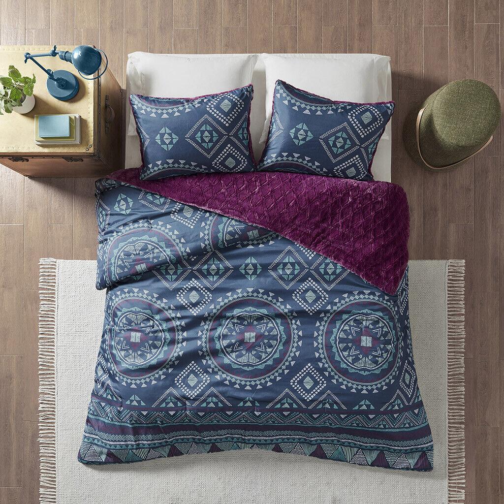 BEAUTIFUL ULTRA SOFT Blau lila NAVY TEAL SOUTHWEST BOHEMIAN COMFORTER SET NEW