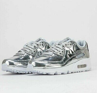 Nike W Air Max 90 SP Metallic Silver Chrome CQ6639-001 Airmax Shoes Sneakers | eBay