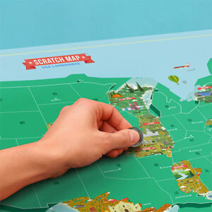 Scratch Map Usa Landmarks Poster Paper Track Your Travels New - Us-map-with-landmarks