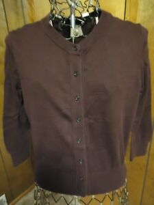 Womens-Small-Loft-Dark-Brown-3-4-Sleeve-Cardigan-Sweater