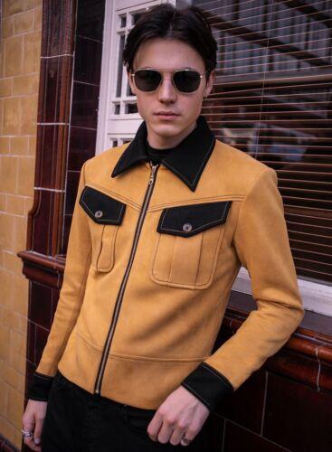 Homme Royal moutarde mod en daim synthétique TRUCKER Veste Style Style XS S M L XL XXL