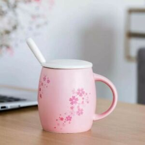 Pink-Sakura-Floral-Barrel-Shape-Coffee-Mug-Spoon-Cherry-Blossom-Water-Milk-Cup