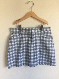 a4e0810c7 brandy melville white/blue checker plaid fitted mini Juliette Skirt ...