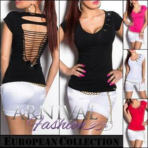 SEXY-LADIES-SHORT-SLEEVE-FASHION-TOP-sz-XS-S-M-L-WOMENS-CASUAL-T-SHIRT-BLOUSE-AU