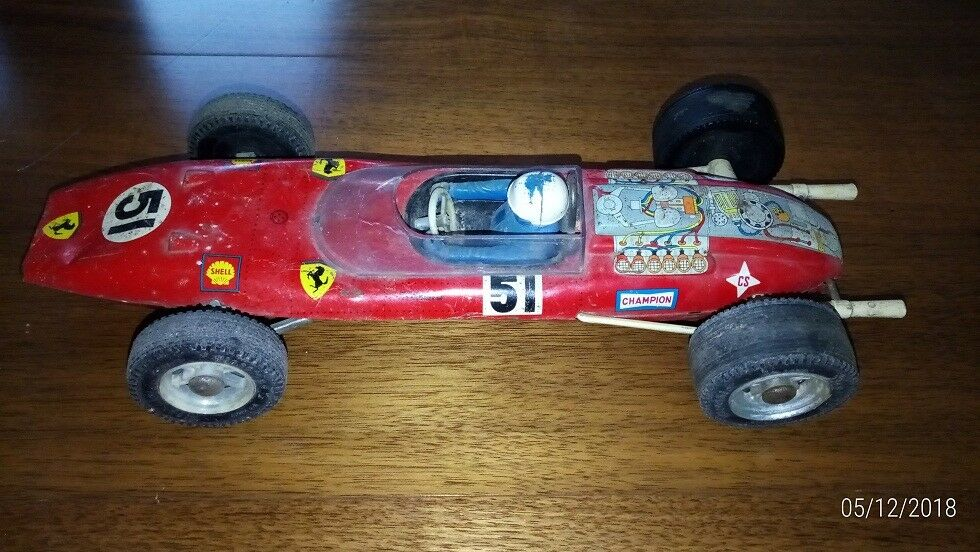 Rico Tin Toy Car with Fangio Racing Driver -  Ferrari Racing Car No. 51