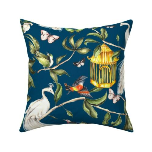 Chinoiserie Peacock Bird Birds Throw Pillow Cover w Optional Insert by Roostery