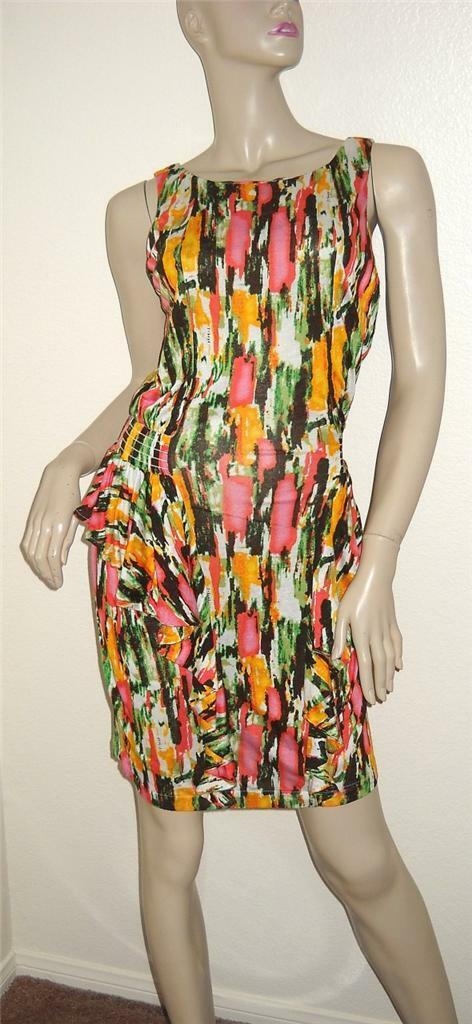 NWT T-Bags Print Peplum Keyhole Sleeveless Jersey Dress Large