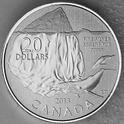 99.99/% PURE SIVER 2013 $20 for $20 Fine Silver Coin Iceberg and Whale