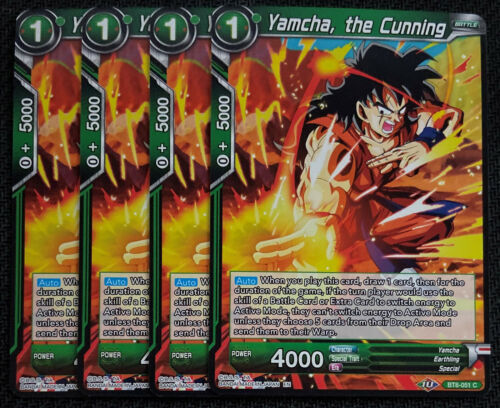 4x Yamcha the Cunning BT8-051 C Dragon Ball Super TCG NEAR MINT