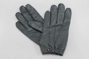 ASPINAL-OF-LONDON-Men-039-s-Grey-Leather-Winter-100-Cashmere-Lined-Gloves-8-NEW