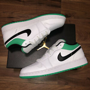 Nike Air Jordan 1 Low GS White/Black/Stadium Green Size UK6 EU40 US7