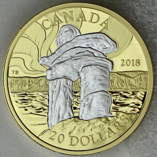 Reverse Gold-Plated 99.99/% Pure Silver Inukshuk 1 oz 2018 $20 Iconic Canada