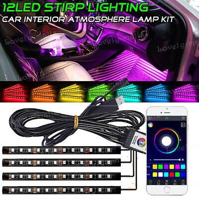 4X 9 LED RGB Interior Light USB Car Neon Strip Phone APP Bluetooth Music Control