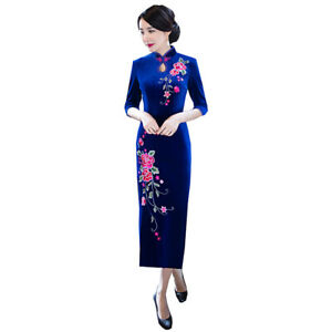 Womens-Velvet-Cheongsam-Bodycon-Dress-Evening-Party-Slim-Side-Slit-Chinese-Qipao