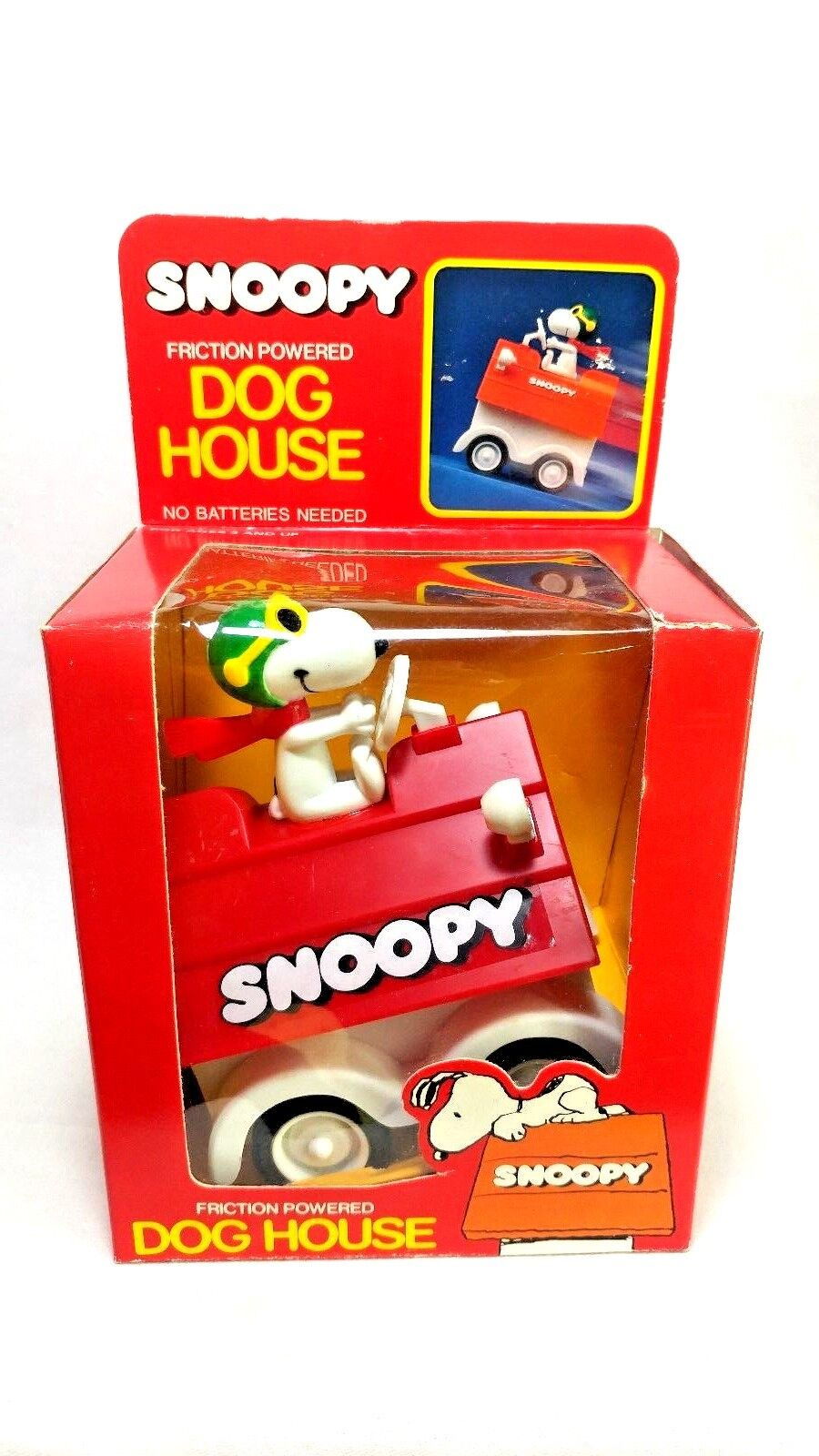 United Feature Vintage 1965 SNOOPY Friction PoweROT Dog House ROT Baron Figure