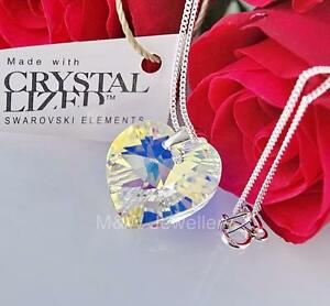 925-Sterling-Silver-Necklace-Crystals-From-Swarovski-HEART-18mm-Crystal-AB