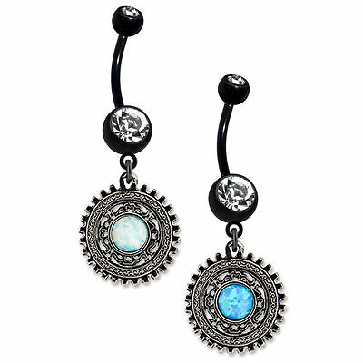 """Steampunk Sun Belly Ring navel 14g 3/8""""Dangle-Style CZ Gems 316L PVD Coated"""